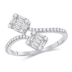 14kt White Gold Womens Baguette Diamond Bypass Band Ring 1/2 Cttw