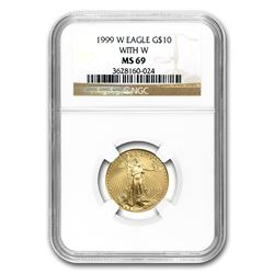 1999-W 1/4 oz Gold American Eagle MS-69 NGC (W Variety)