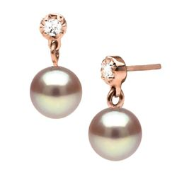 Lavender Pearl and Dainty Diamond Dangle Earrings, 7.5-8.0mm