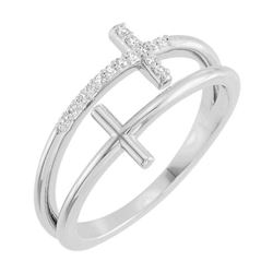 Natural 0.07 CTW Double Cross Diamond Ring 18KT White Gold