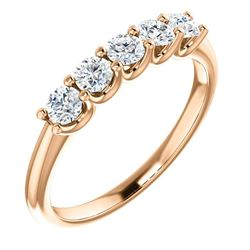Natural 0.52 CTW Round Cut 5-Stone Diamond Wedding Anniversary Ring 18KT Rose Gold