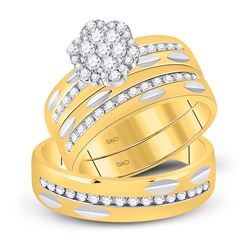 14kt Yellow Gold His Hers Round Diamond Cluster Matching Wedding Set 3/4 Cttw