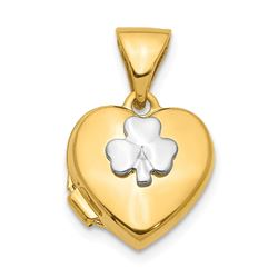 14k with White Gold accent Clover Heart Locket Pendant - 16 mm