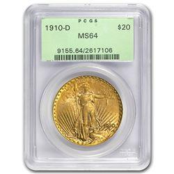 1910-D $20 Saint-Gaudens Gold Double Eagle MS-64 PCGS