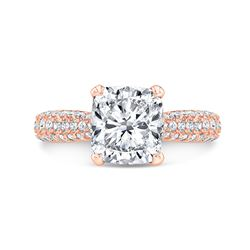 Natural 3.32 CTW Cushion Cut Micro Pave Diamond Engagement Ring 18KT Rose Gold