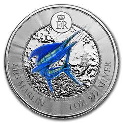 2018 Cayman Islands 1 oz Silver Marlin Proof (Colorized)