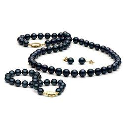 Black Akoya Pearl 3-Piece Jewelry Set, 6.5-7.0mm