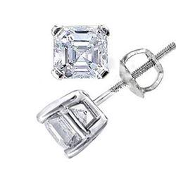 Natural 1.52 CTW Asscher Cut Diamond Stud Earrings 14KT White Gold