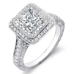 Natural 2.32 CTW Princess Cut Double Halo Diamond Engagement Ring 14KT White Gold