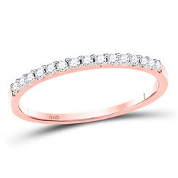 14kt Rose Gold Womens Round Diamond Wedding Single Row Band 1/6 Cttw