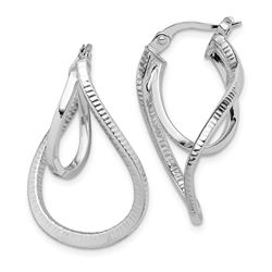 14k White Gold Curved Hoop Earrings - 35 mm