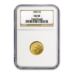 1854 $3 Gold Princess AU-58 NGC