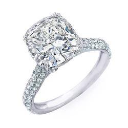 Natural 5.04 CTW Bonny Cushion Cut Diamond Engagement Ring 18KT White Gold