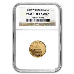 1989-W Gold $5 Commem Congressional PF-69 NGC