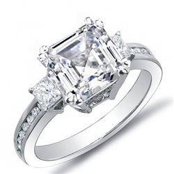Natural 2.89 CTW Asscher Cut w/ Princess & Round Cut Diamond Engagement Ring 18KT White Gold