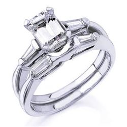 Natural 1.22 CTW Emerald Cut Diamond Engagement Ring 14KT White Gold