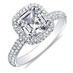 Natural 1.97 CTW Asscher Cut Halo Pave Diamond Engagement Ring 18KT White Gold