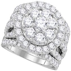 14kt White Gold Round Diamond Halo Cluster Bridal Wedding Ring Band Set 4 Cttw