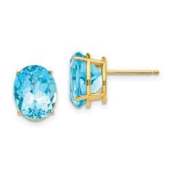 14k 10x8 mm Oval Blue Topaz Earrings