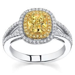 Natural 2.42 CTW Halo Canary Yellow Cushion Cut Diamond Engagement Ring 18KT Two-tone