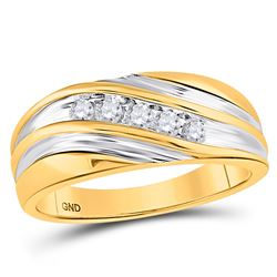 14kt Yellow Gold Mens Round Diamond Wedding Band Ring 1/4 Cttw