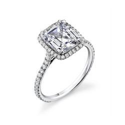 Natural 3.22 CTW Halo Emerald Cut Diamond Engagement Ring 14KT White Gold