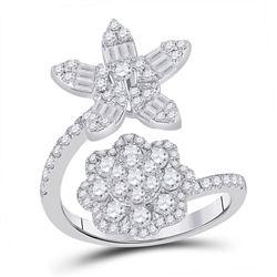 14kt White Gold Womens Baguette Diamond Bypass Flower Cocktail Ring 1-1/3 Cttw