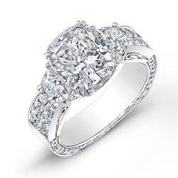 Natural 3.64 CTW Cushion Cut & Half Moon Diamond Engagement Ring 18KT White Gold