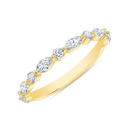 Natural 0.52 CTW Marquise Cut and Round Cut Diamond Ring 14KT Yellow Gold