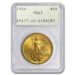 $20 Saint-Gaudens Gold Double Eagle MS-63 PCGS (Rattler, Random)