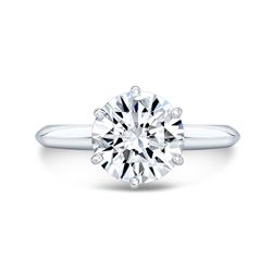 Natural 2.52 CTW Round Cut Diamond Knife Edge Solitaire Ring 14KT White Gold