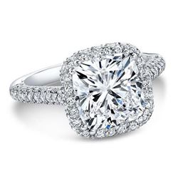 Natural 2.92 CTW Top Side Halo Cushion Cut Diamond Engagement Ring 14KT White Gold