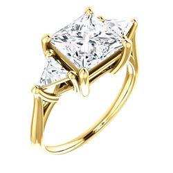 Natural 4.02 CTW 3-Stone Princess Cut & Trillion Cut Diamond Ring 18KT Yellow Gold