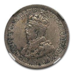 1913 British West Africa Silver 6 Pence George V MS-63 NGC