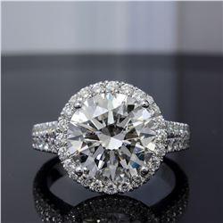 Natural 5.92 CTW Halo Split Shank Round Cut Diamond Engagement Ring 18KT White Gold
