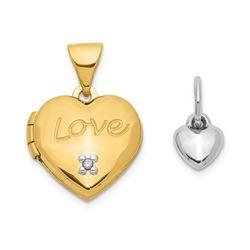14k Yellow Gold Two-tone Heart w/ Diamond Locket/Heart - 12 mm