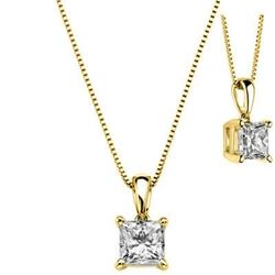 Natural 0.72 CTW Princess Cut Diamond Solitaire Pendant With Chain 18KT Yellow Gold