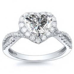 Natural 1.82 CTW Halo Heart Shape Twist Shank Diamond Ring 14KT White Gold