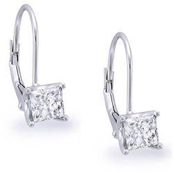Natural 0.82 CTW Lever Back Princess Cut Diamond Earrings 18KT White Gold