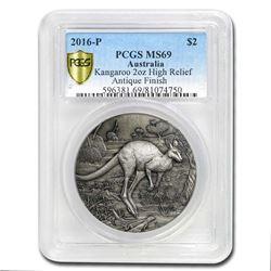 2016 Australia 2 oz Silver HR Kangaroo MS-69 PCGS (Antiqued)