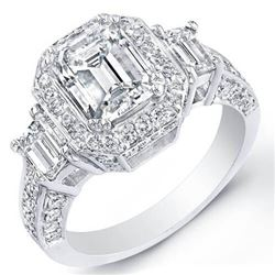 Natural 2.97 CTW Emerald Cut 3-Stone Halo Diamond Ring 18KT White Gold