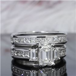 Natural 3.42 CTW Emerald Cut Diamond Engagement Ring 14KT White Gold
