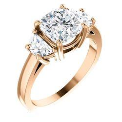 Natural 2.12 CTW Cushion Cut & Half Moon 3-Stone Diamond Ring 18KT Rose Gold