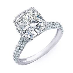 Natural 6.08 CTW Bonny Cushion Cut Diamond Engagement Ring 18KT White Gold
