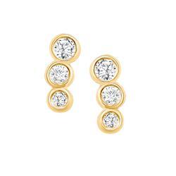 Natural 0.22 CTW Petite Bezel Diamond Earrings 18KT Yellow Gold