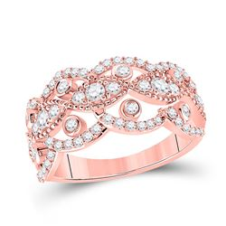 14kt Rose Gold Womens Round Diamond Rounded Edge Band Ring 1 Cttw