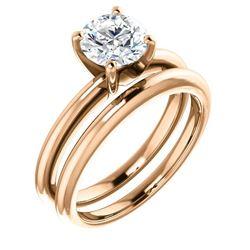 Natural 1.02 CTW Round Cut Solitaire Diamond Ring 18KT Rose Gold