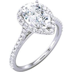 Natural 1.57 CTW Halo Pear Cut Tear Drop Diamond Engagement Ring 14KT White Gold