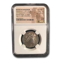 Seleucid Kingdom AR Tetradrachm Demetrius II 129-25 BC Ch AU NGC