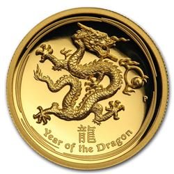 2012 Australia 1 oz Gold Lunar Dragon Proof (UHR)